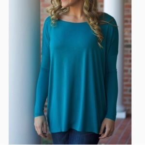 Teal/turquoise piko top long sleeve